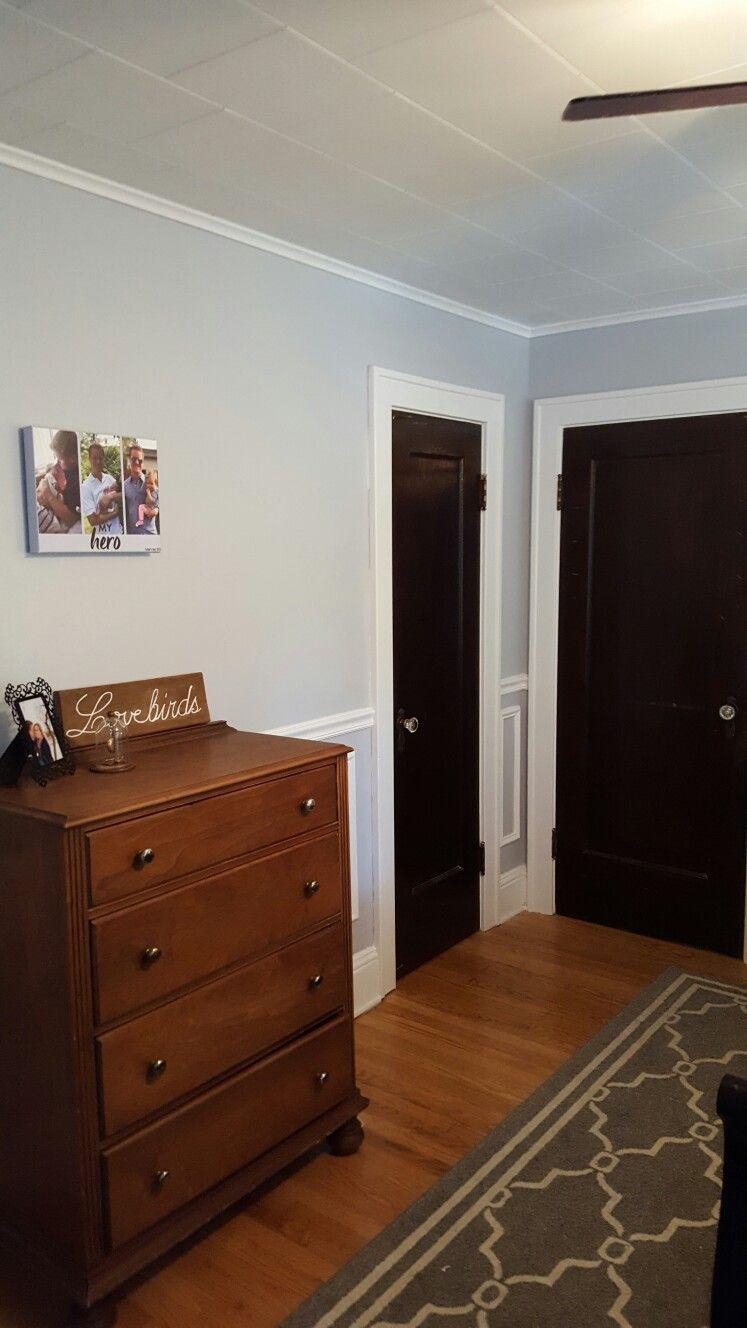 Valspar silver leaf and gravity blend gray bedroom