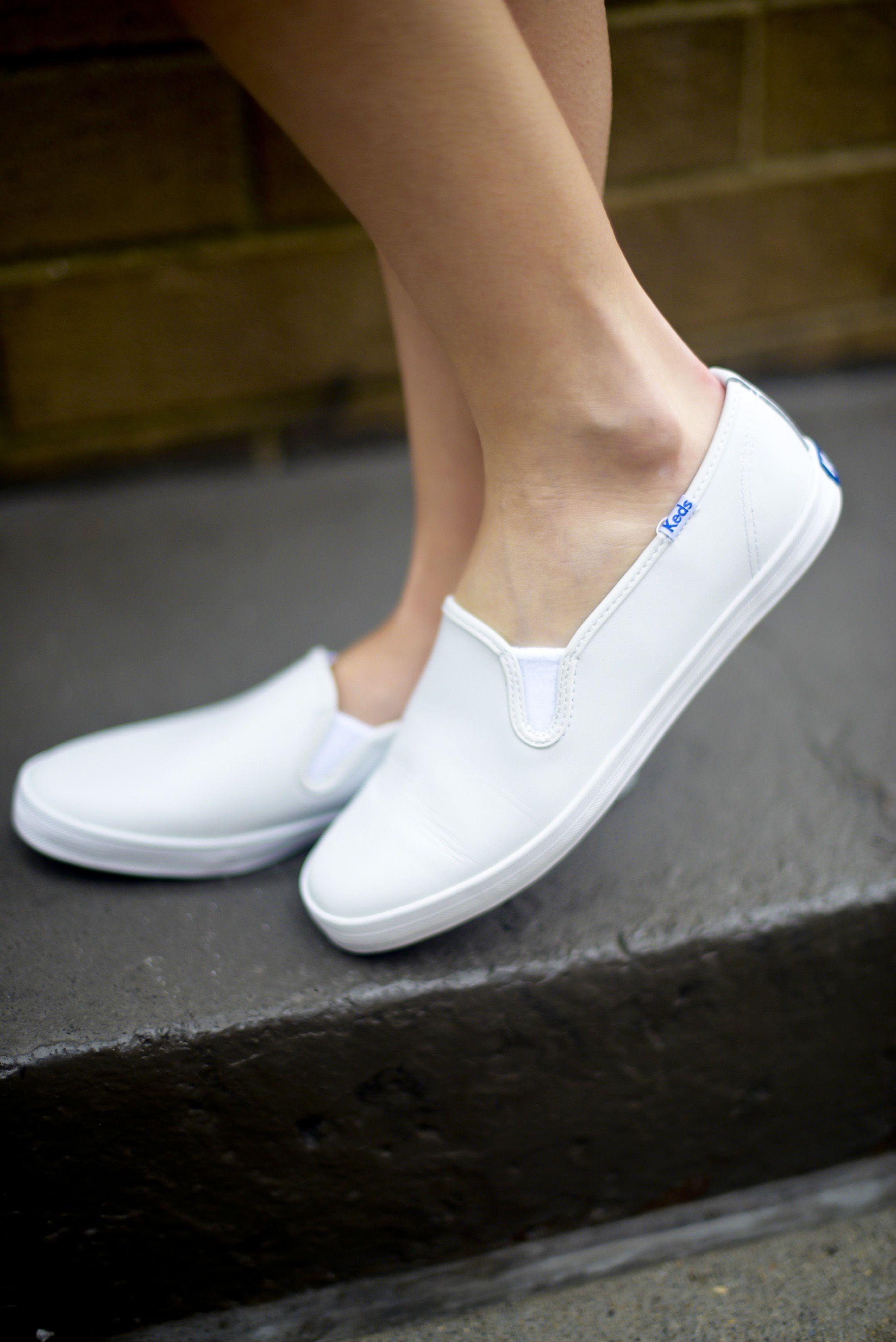 Keds white sneakers, Black slip