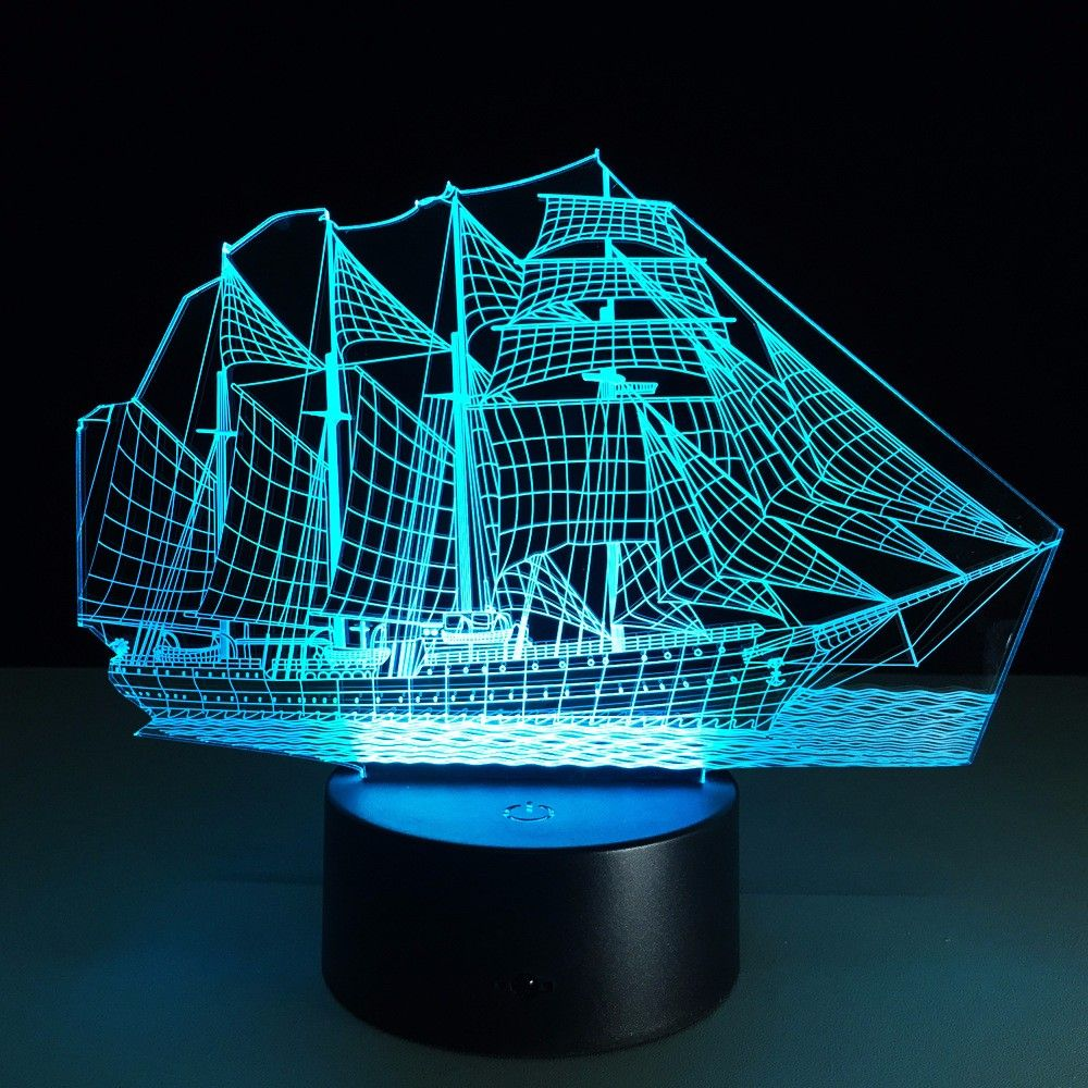 Creative Sailing Boat Usb 3d Led Lights Colorful Touch Night Light Christmas Gift 3d Led Light 3d Illusion Lamp 3d Led Night Light