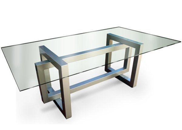 Mesa moderna de cristal de interior thasos gonzalo de for Mesa oficina moderna