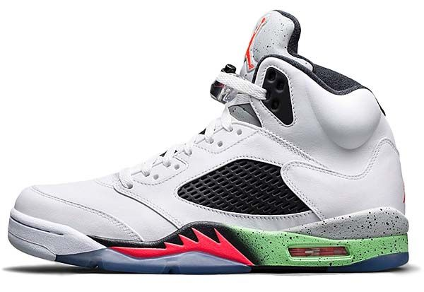 100% authentic 16371 681ac NIKE AIR JORDAN 5 RETRO  WHITE   INFRARED 23-LIGHT POISON GREEN-BLACK   (136027-115)