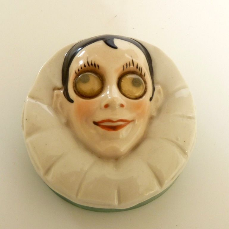 ART DECO PIERROT MOVABLE GOOGLY EYES HAND PAINTED BOX. UNUSUAL COLLECTIBLE #ArtDeco