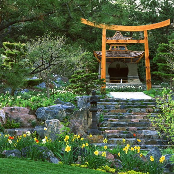 Custom Gate in Traditional Asian Garden Outdoor Pergola Patio