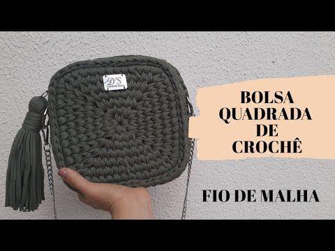 DIY Bolsa Quadrada com fio de malha – passo a passo completo