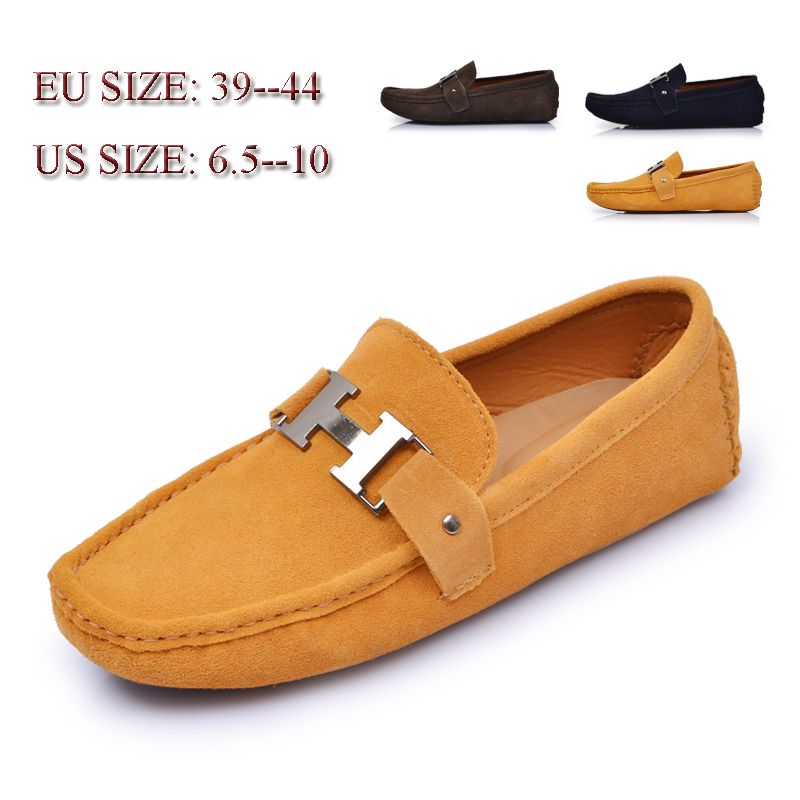 Men's Gommino Loafers With Buckle Slip on Driving Shoes Handmade Suede Leather Moccasins
