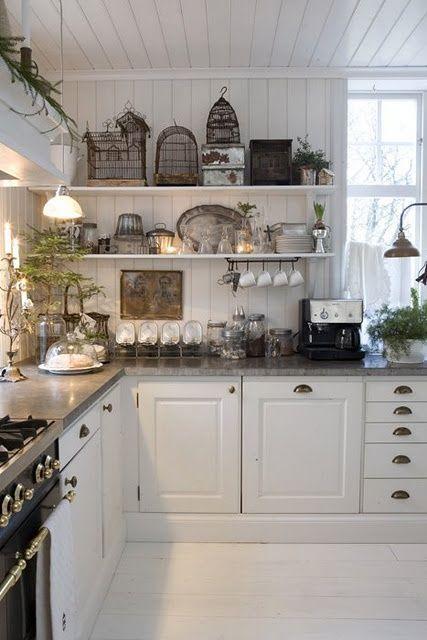 Rustic White Country Kitchen kitchen. white, grey, black, chippy, shabby chic, whitewashed