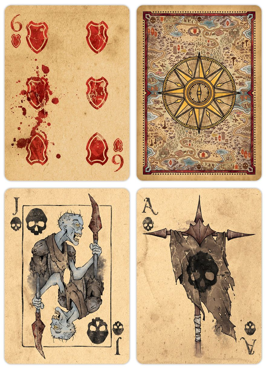 Factions fantasy themed playing card deck deck of