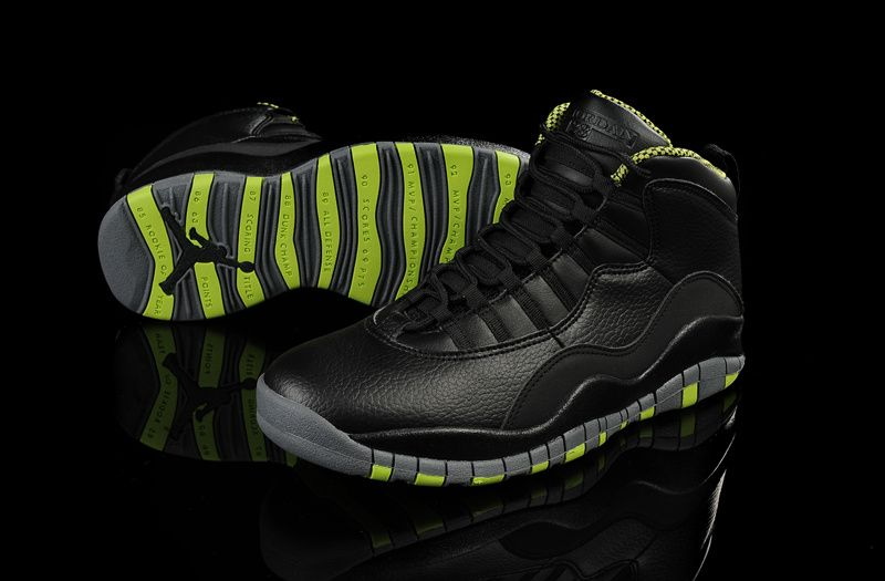 b2f1959bc2351b ... shop air jordan 10 black leather venom green shoes are cheap for sale.  shop the