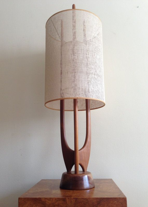 Vintage Danish Modern Sculptural Teak Rocket Table Lamp Mid Century