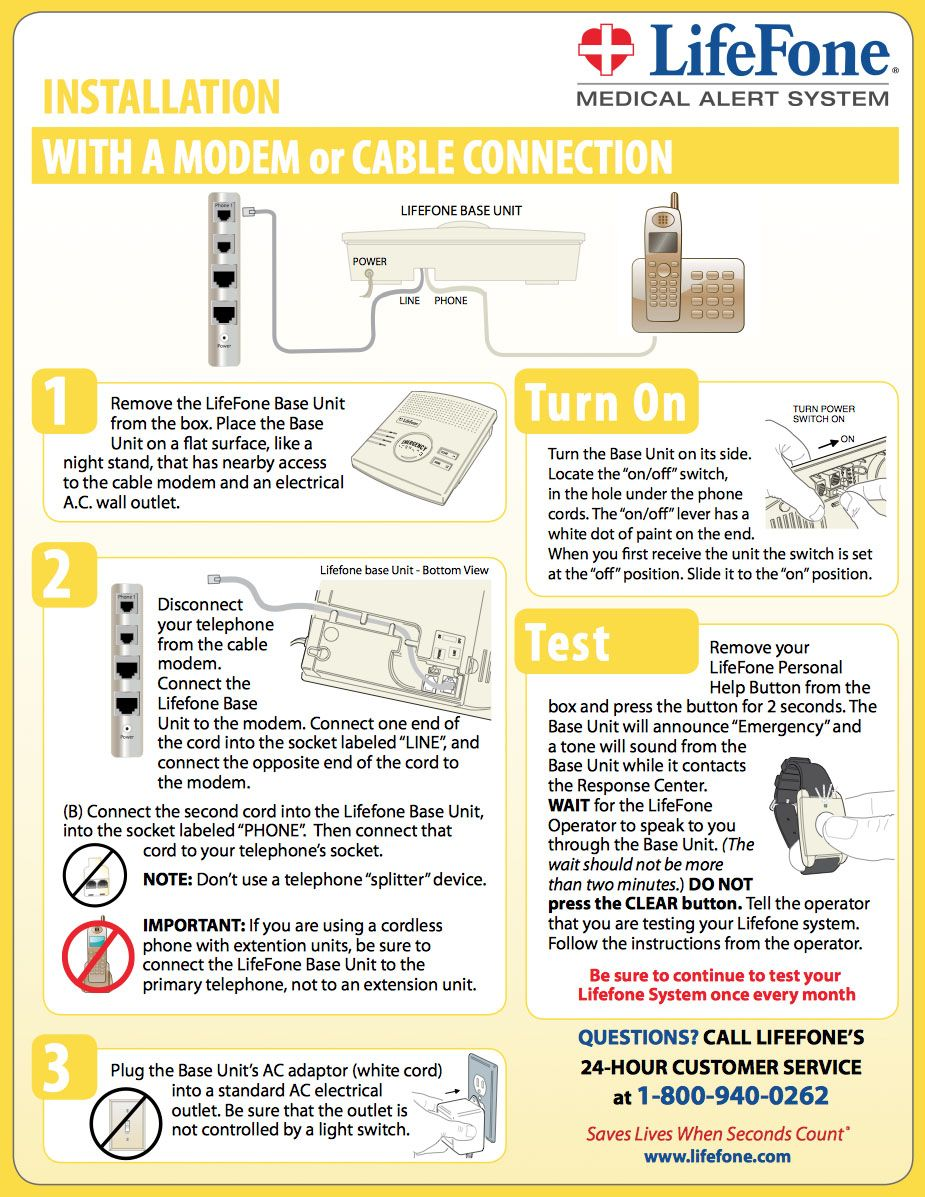 Installation of a LifeFone Medical Alert With A Modem or