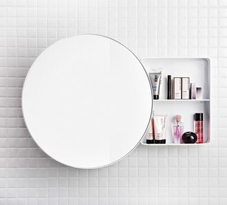 Bath mirror and shelf a room to wash in pinterest shelves bath and bathroom storage for Round mirror bathroom cabinet