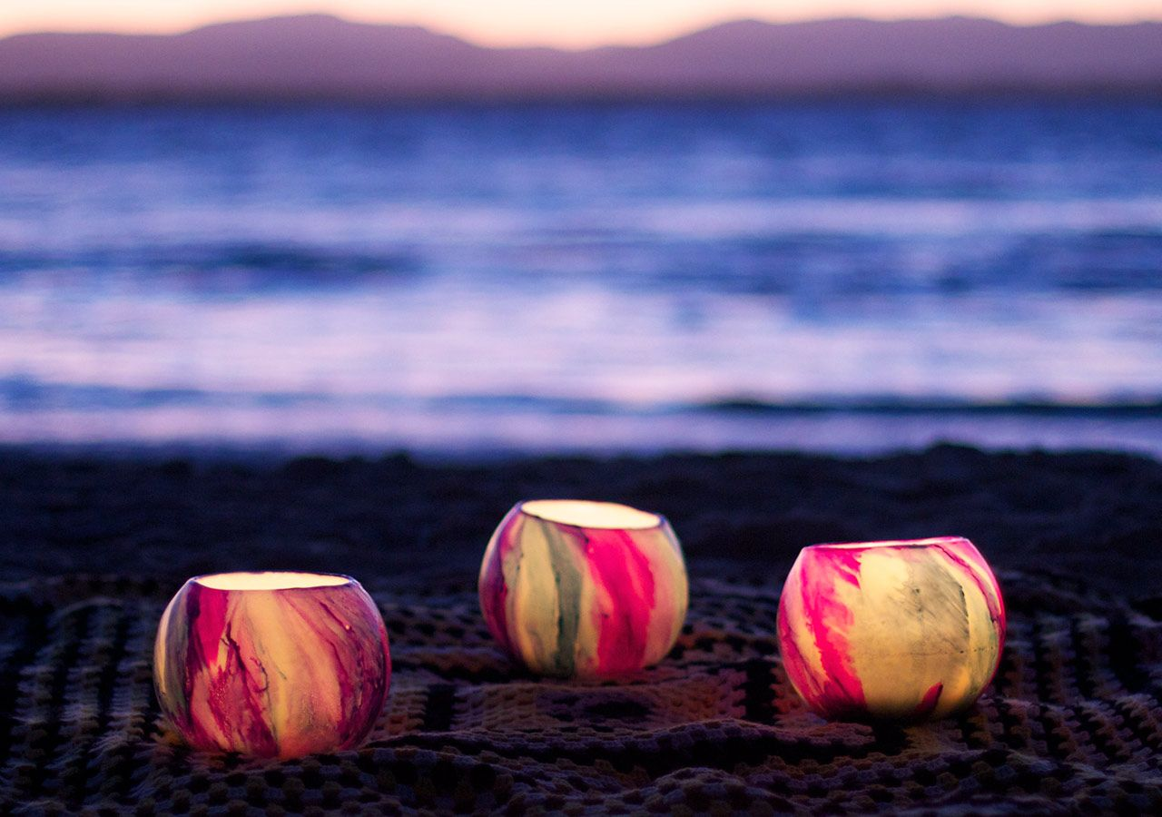 Picnic idea with candles beach picnic night picnic Best candles for romantic night