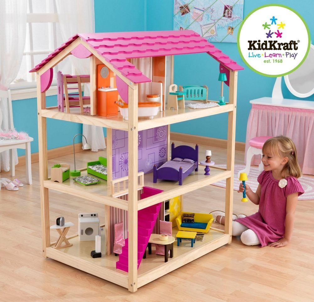 kidkraft so chic dollhouse mansion house w 50 pc furniture set barbie doll too barbie doll house furniture sets