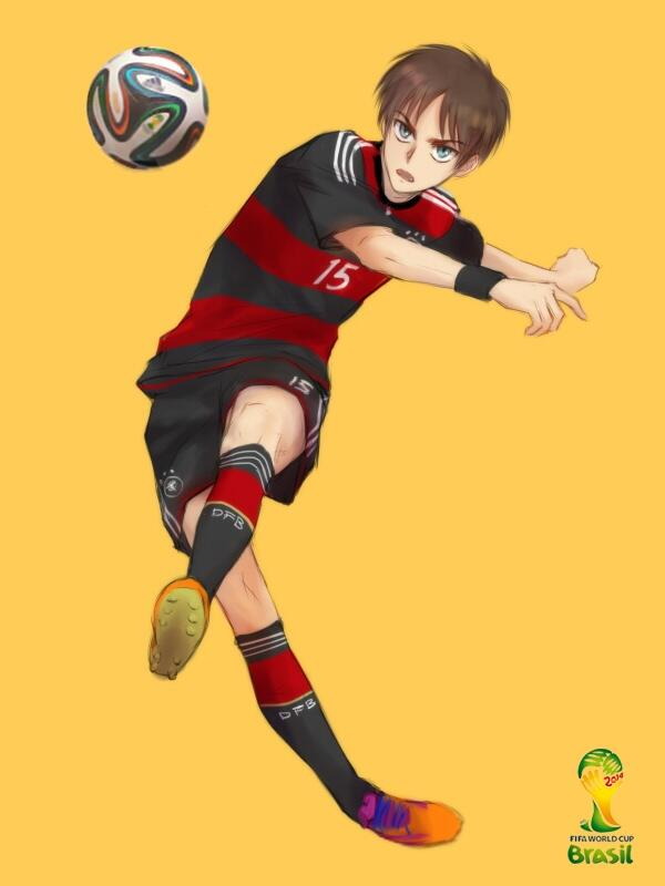 Playing For Germany Eh Well He Sure Knows How To Maneuver That Ball Well Attack On Titan Eren Eren Jaeger Attack On Titan