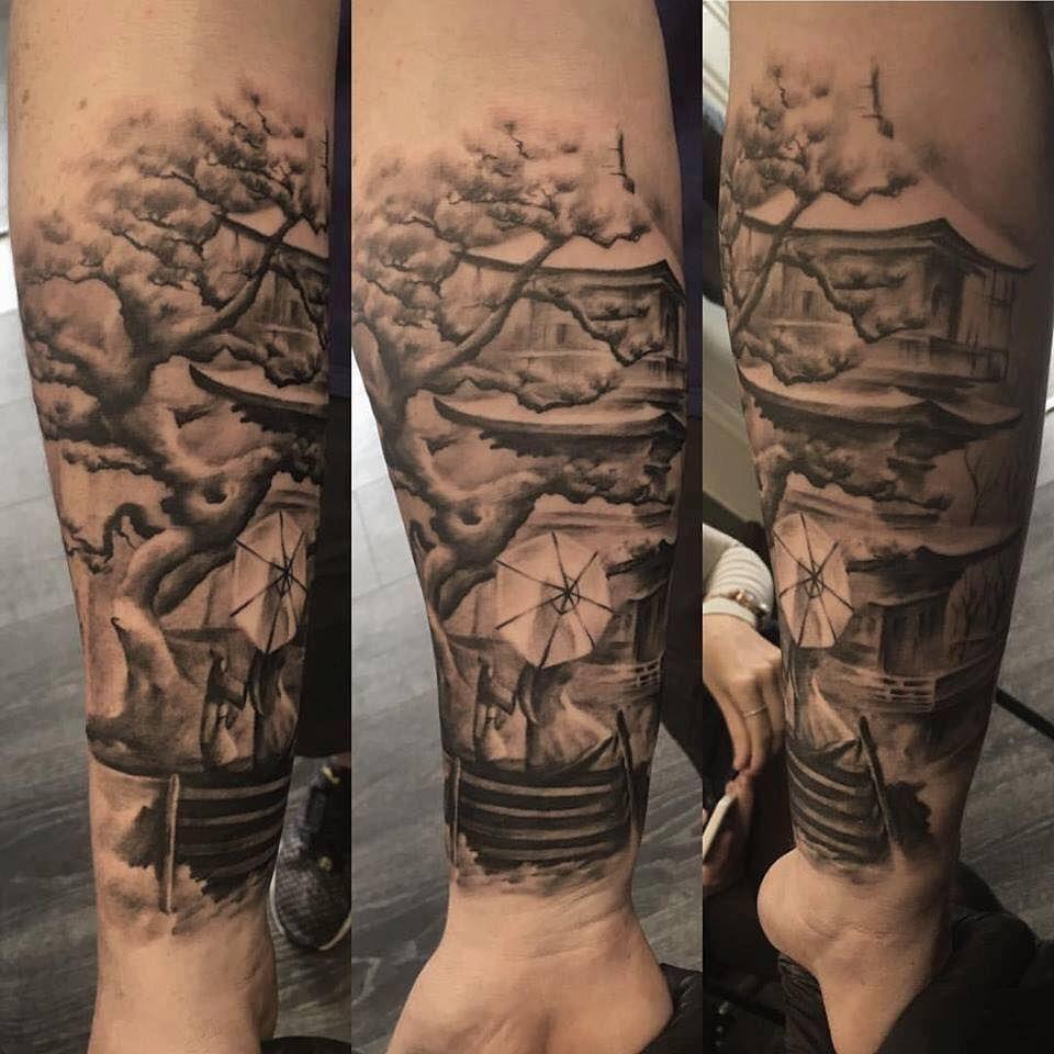 Japanese Temple And Geisha Tattoo By Borislav Limited Availability At Salvation Tattoo Studios Garden Tattoos Japanese Temple Tattoo Trinity Tattoo