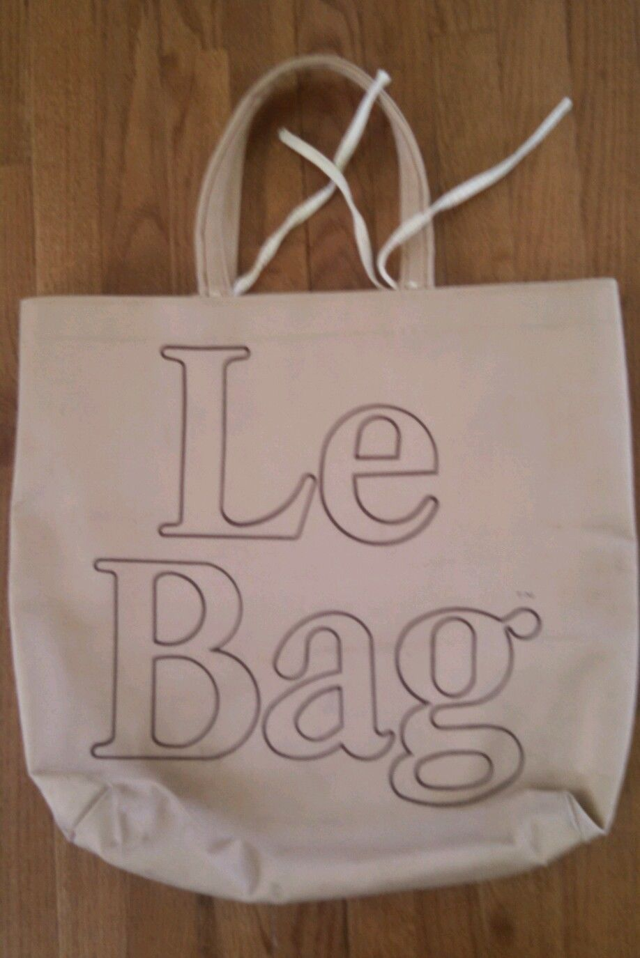 Vintage Le Bag Tote Canvas Beige Tan 1980 S 80s Reusable Large Typographic Ebay