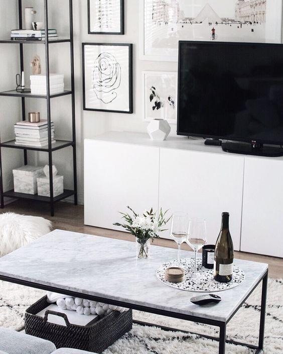 Schwarz-weiß als Farbschema für dein Wohnzimmer? Warum nicht - die - coole wohnzimmer ideen