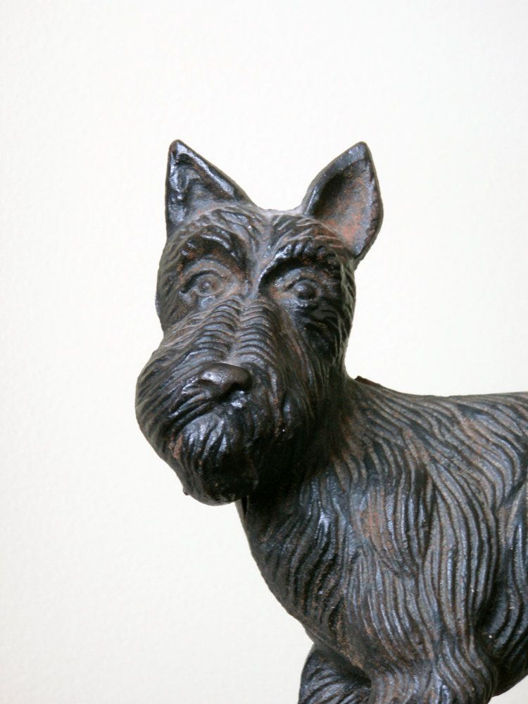 Antique Cast Iron Door Stop. Black Scotty Dog. Schnauzer. $58.00, via Etsy. - Vintage Cast Iron Door Stop. Black Scotty Dog. Schnauzer Cast Iron