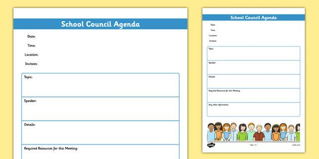 School Council Meeting Agenda Template  Student Council