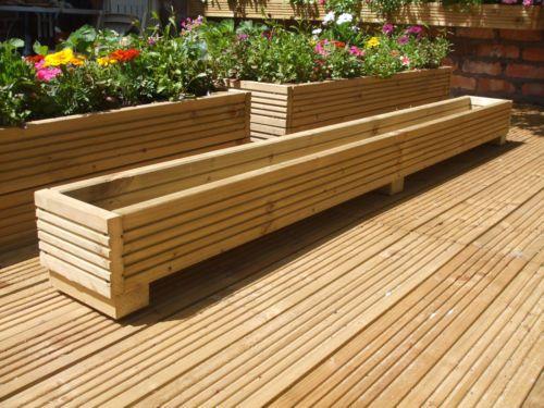 6Ft Long Wooden Decking Planter Trough Window Box 183Cm X 400 x 300