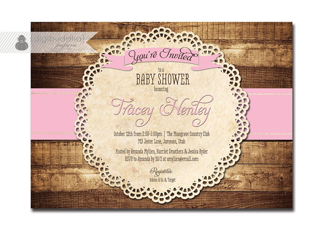 Rustic Baby Shower Invitation Baby Pink Wood Lace Baby Shower Rustic ...