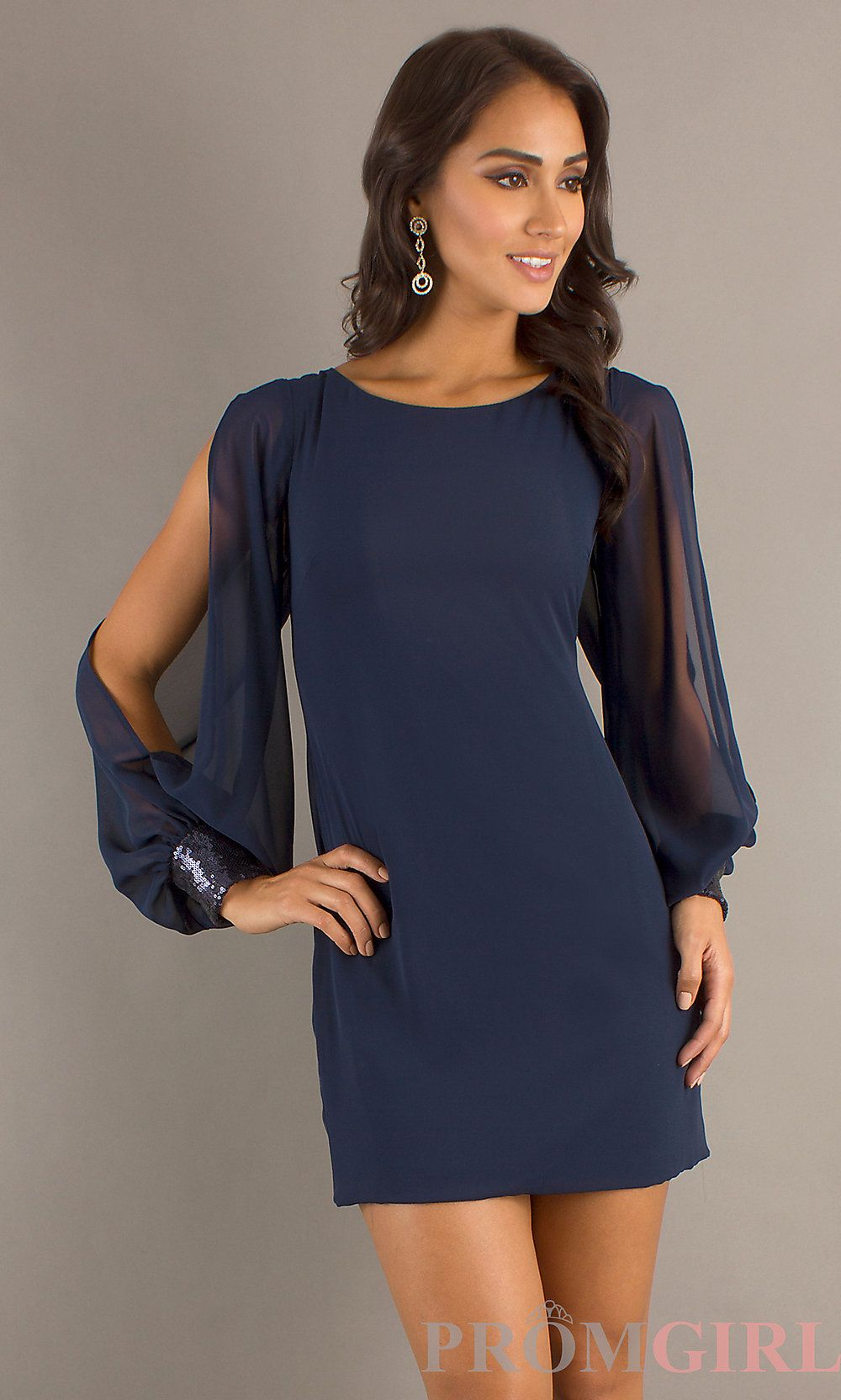 Short cocktail dress with sleeves navy blue