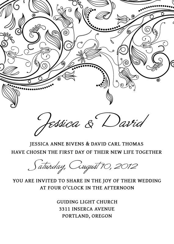Wedding Invitation Template SET Photoshop - Flowers ...