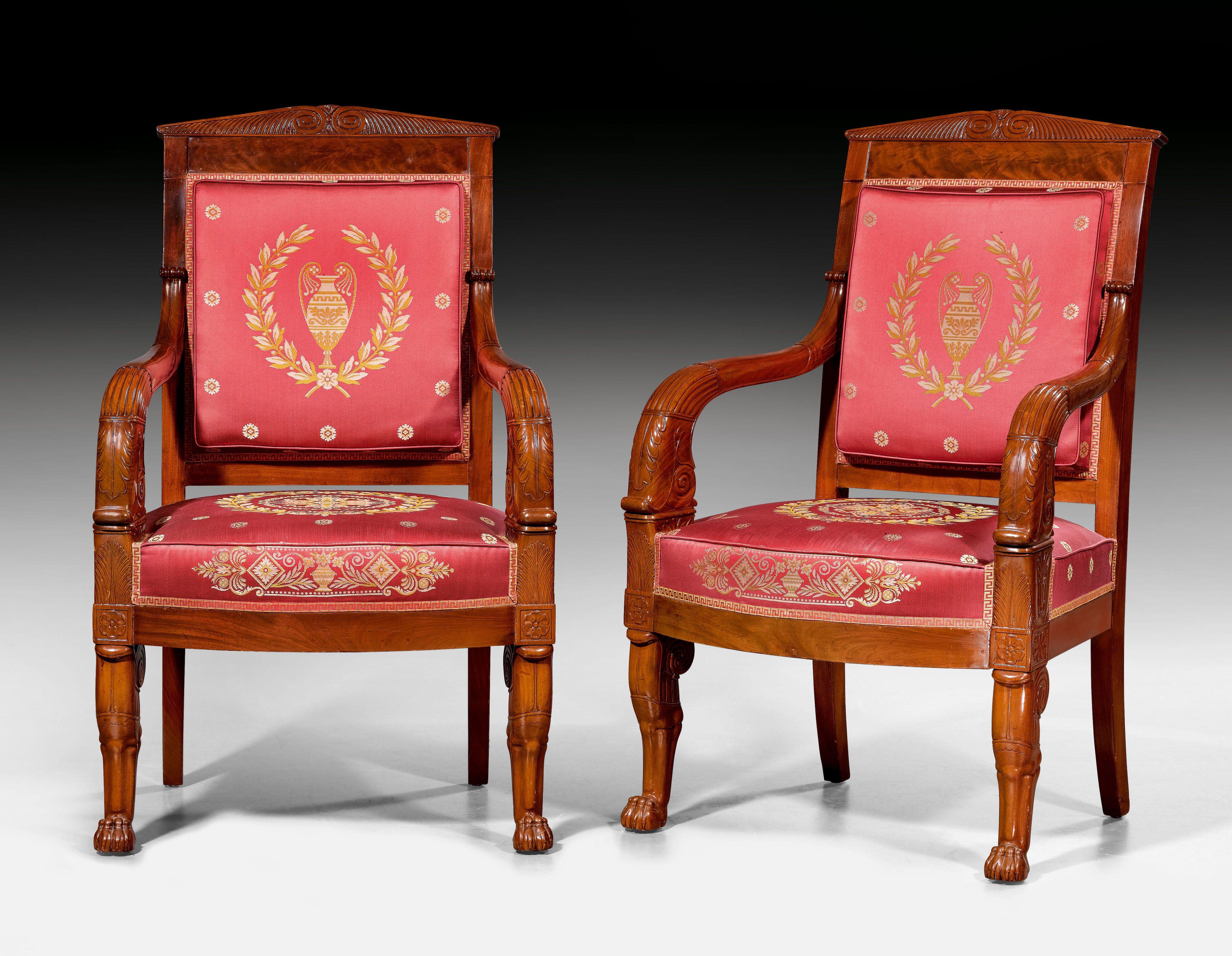 Pair Of Armchairs Aux Pattes De Lion Empire In The Style Of P A Bellange Pierre Antoine Bellange 1758 Paris 1827 Par Empire Style Side Chairs Armchair
