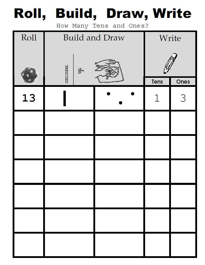 Place value activity: roll, build, draw, write. Also has lots of ...