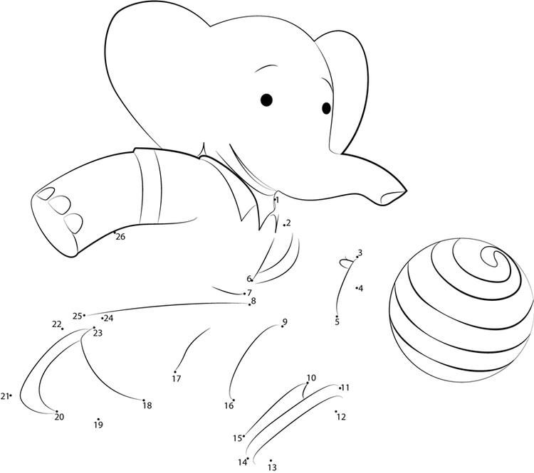 Babar Playing Footbal Dot To Dot Download Picture Dinosaur
