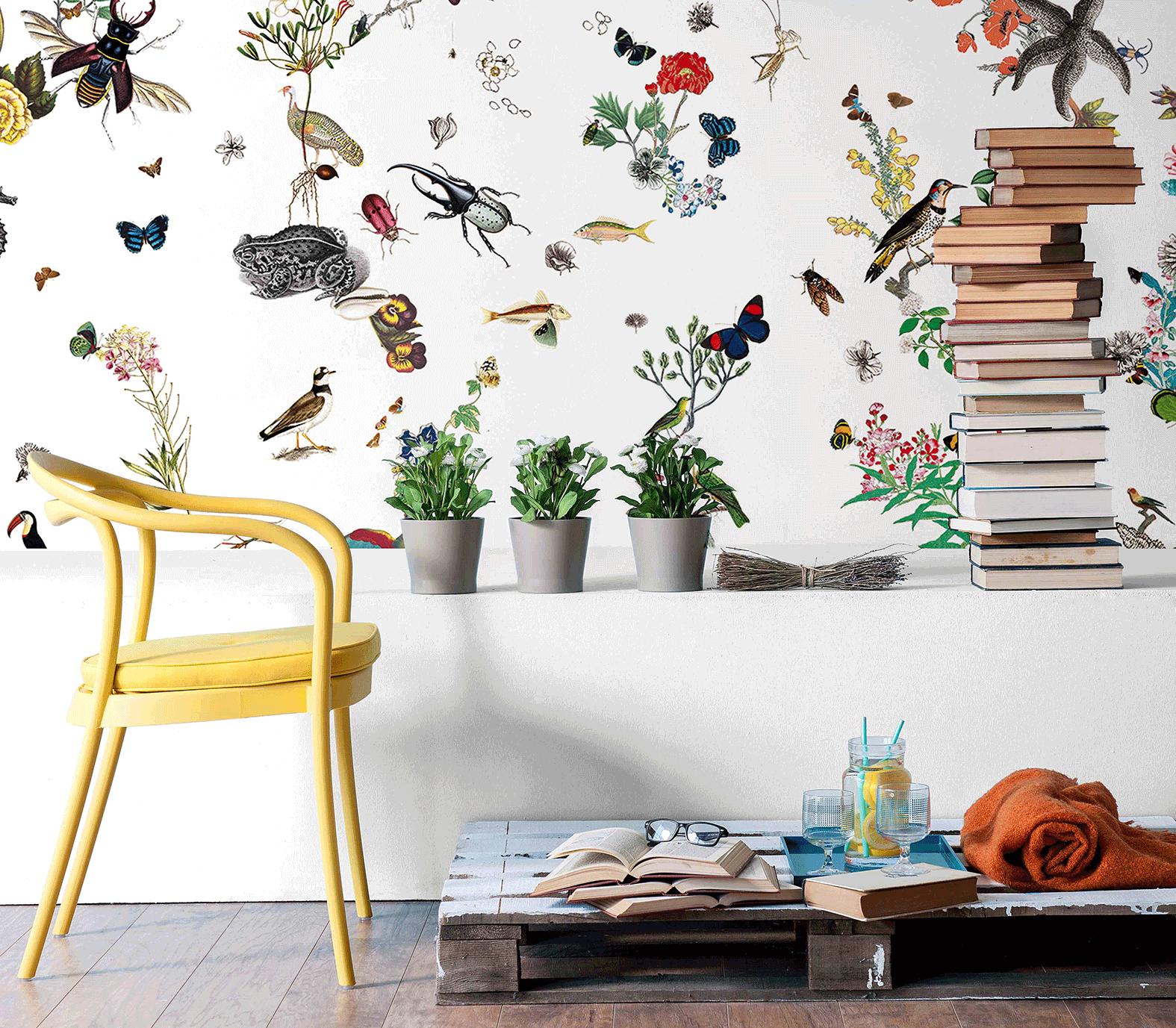 Papier peint fantaisie - Caroline. MUES DESIGN Botanique / papillons ...