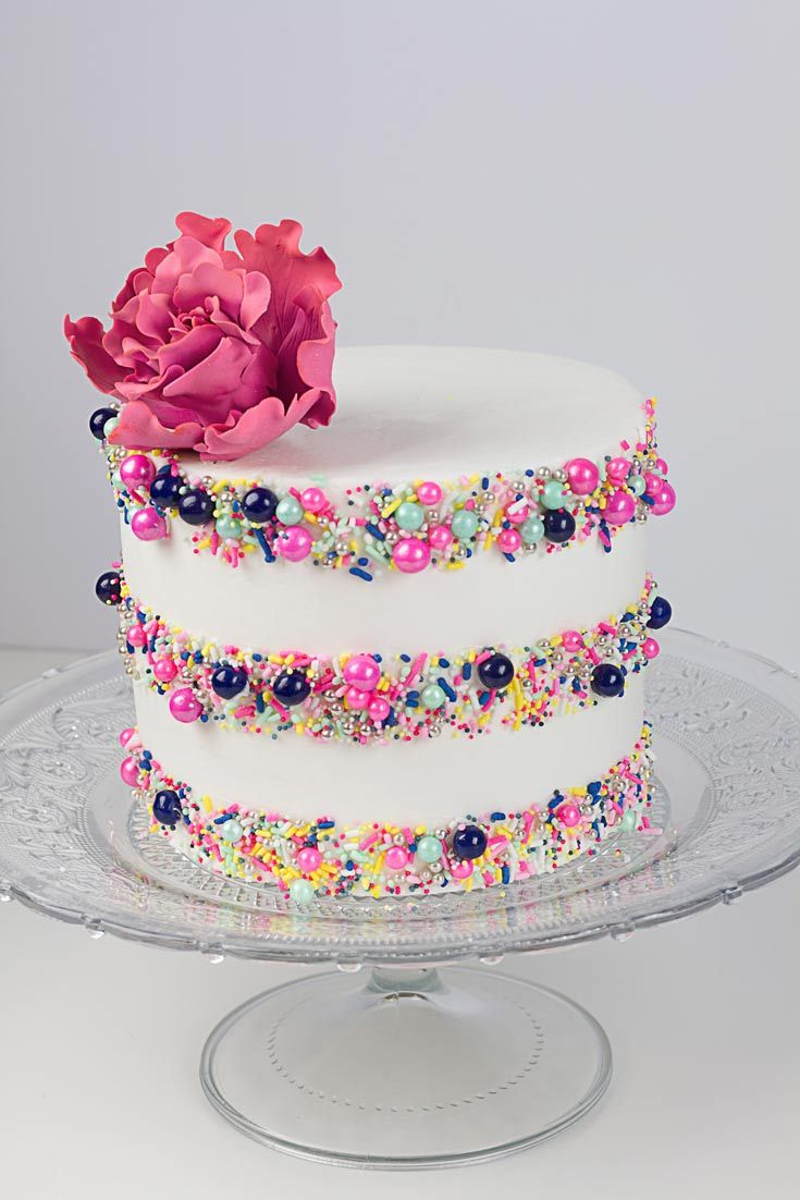 Sprinkle Stripes Cake Tutorials In Buttercream Cake