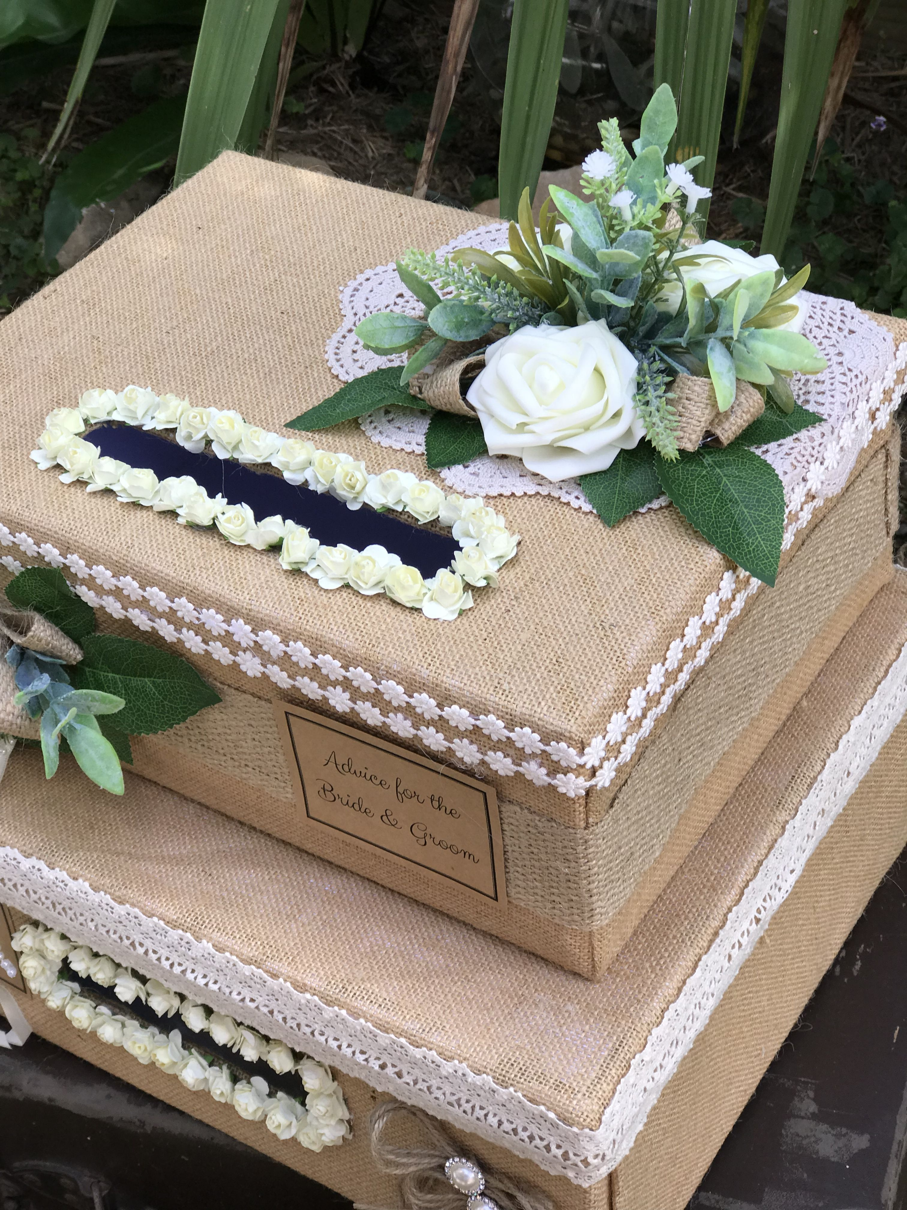 Advice for the bride and groom rustic card box wedding