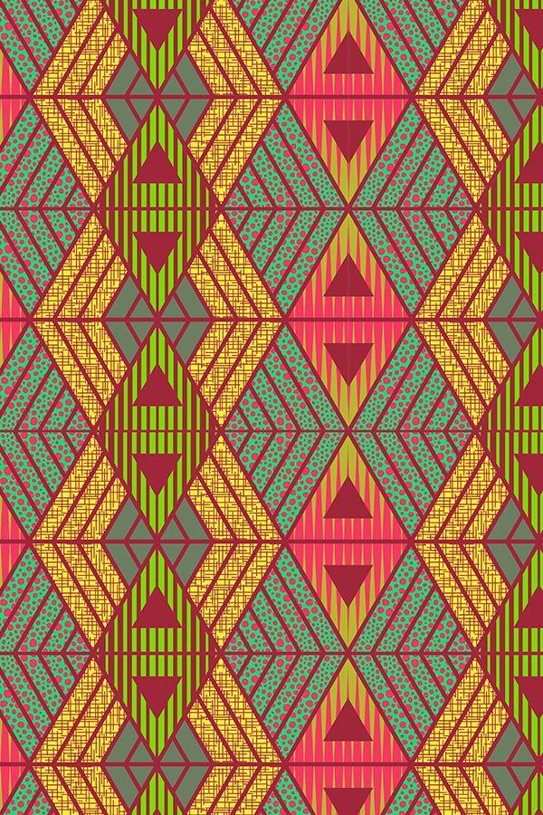 African Geometric By Kimsa Bold Geometric Shapes In Lime Green