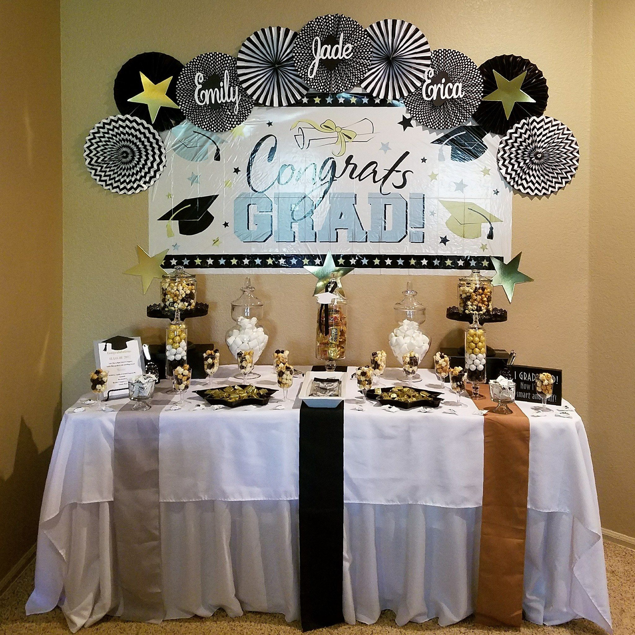 Graduation Celebration Sweet Treat Table In Black White Silver
