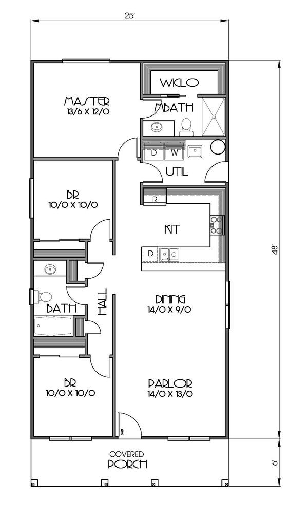 Cottage Style House Plan - 3 Beds 2 Baths 1200 Sq/Ft Plan #423-49 - Houseplans.com