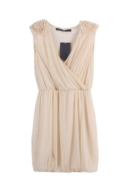 Deep V-neck Nude Chiffon Dress