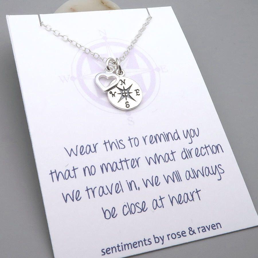 Sentiment Card Best Friend Gift Life is a Journey Friendship Bracelet Sterling Silver Compass Bracelet
