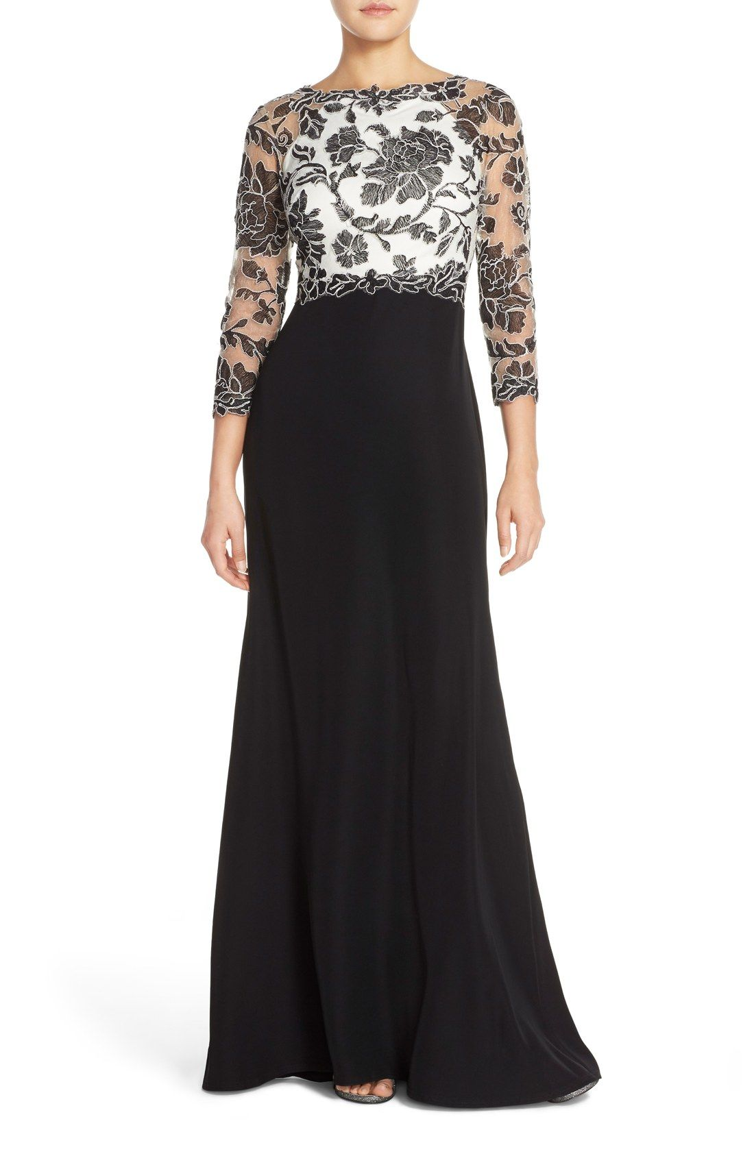 Free shipping and returns on Tadashi Shoji Embroidered Lace Gown ...
