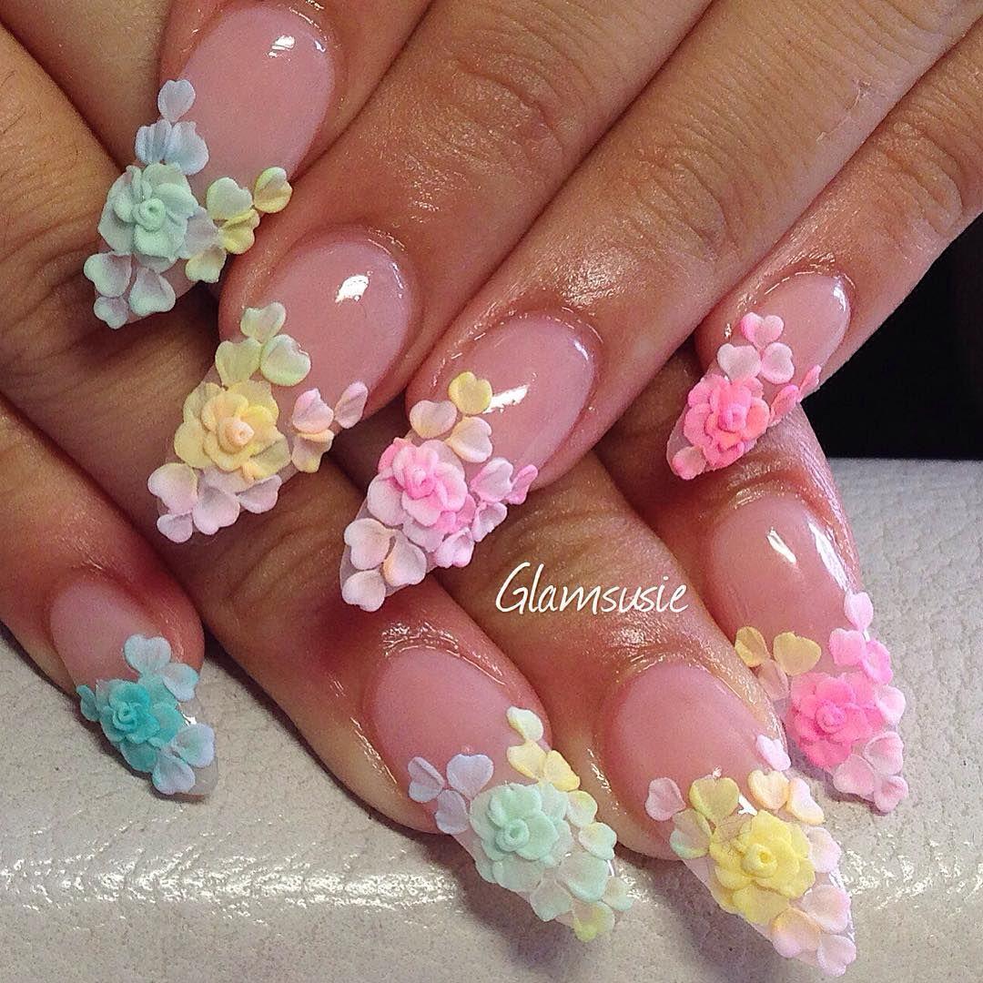 Kawaii Floral Rose Petal Stiletto Nails | Arte De Uñas | Pinterest ...