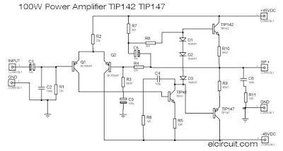 100w power amplifier tip142 tip147 amplifier pinterest circuit rh pinterest com Simple Two Transistor Audio Amplifier Transistor Voltage Amplifier Circuit Diagram