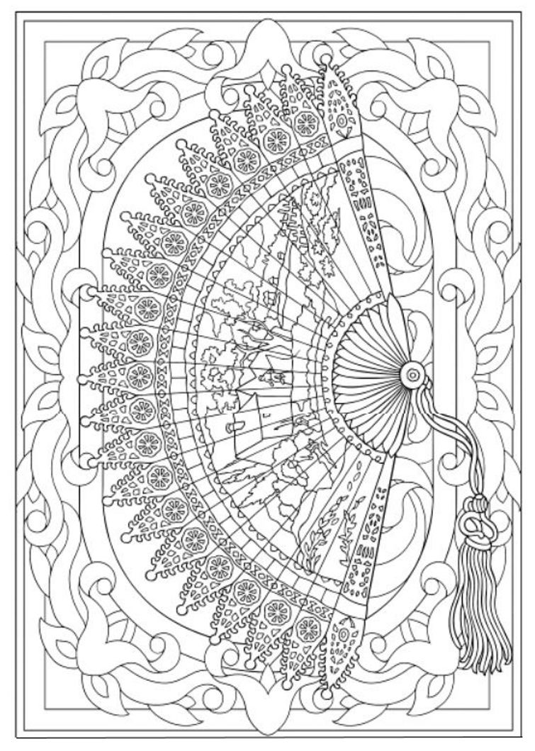- Creative Haven Vintage Hand Fans Coloring Book, Dover Publications