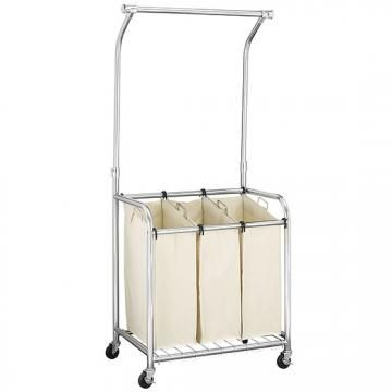 chrome triple laundry cart with adjustable hanging bar rolling laundry cart laundry hamper