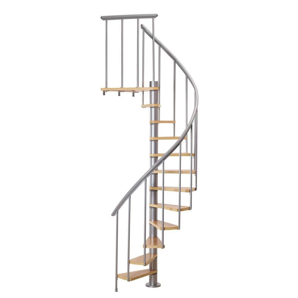 Best Grey Spiral Staircase With Beech Wood Steps Stair Kits 400 x 300