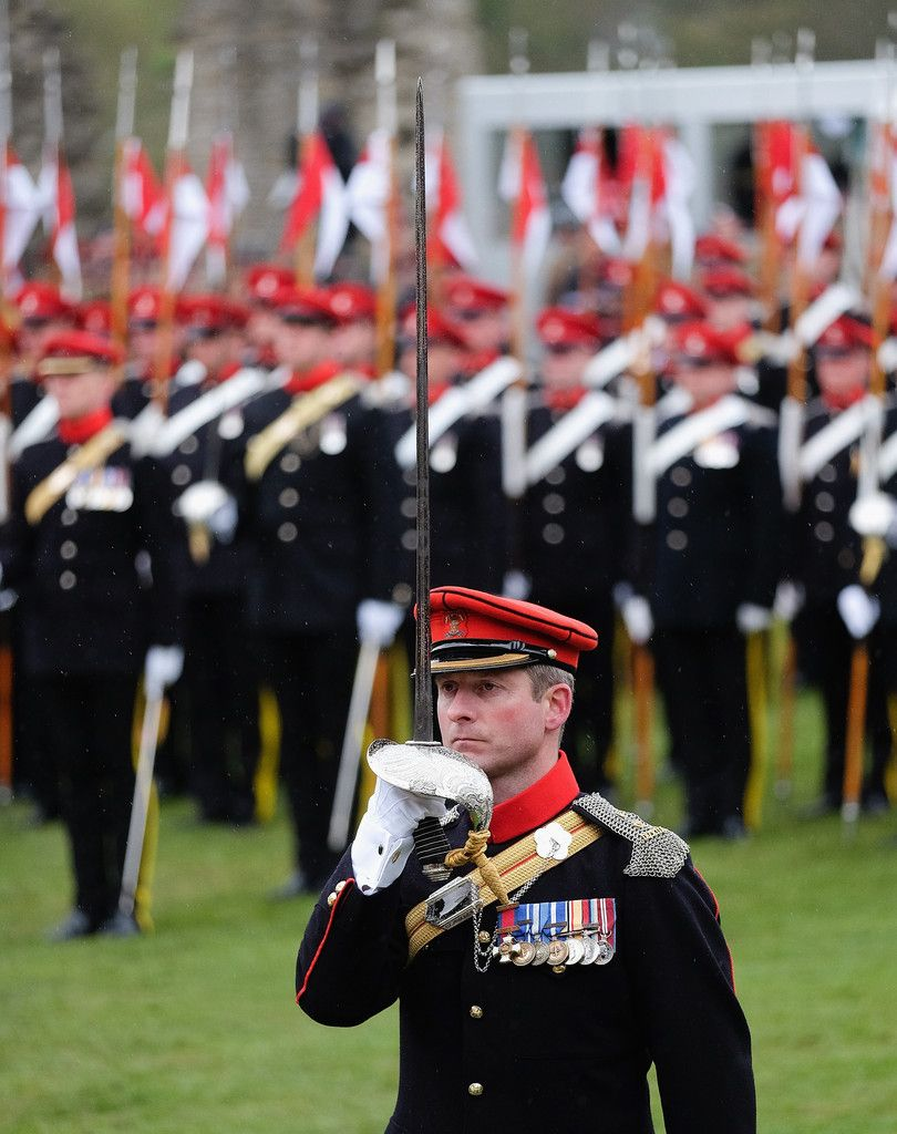 The Regiment parades as Queen Elizabeth II and Prince Andrew Duke of York attend the amalgamation parade of The Queen's Royal Lancers and 9th/12th lancers (Prince of Wales's) at Richmond Castle on May 2, 2015 in Richmond, England. The Queen took the Royal Salute in the historic castle grounds before inspecting and addressing the parade of the newly formed The Royal Lancers before the Regiment marched past the saluting dias.
