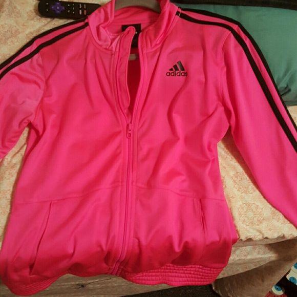adidas track jacket children XL worn twice Hot pink with black ...