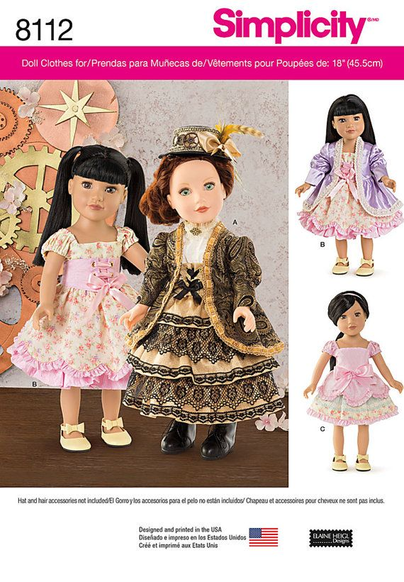 Einfachheit-Muster 8112 18-Zoll-Puppe Kleidung von CCsDodads | Nähen ...