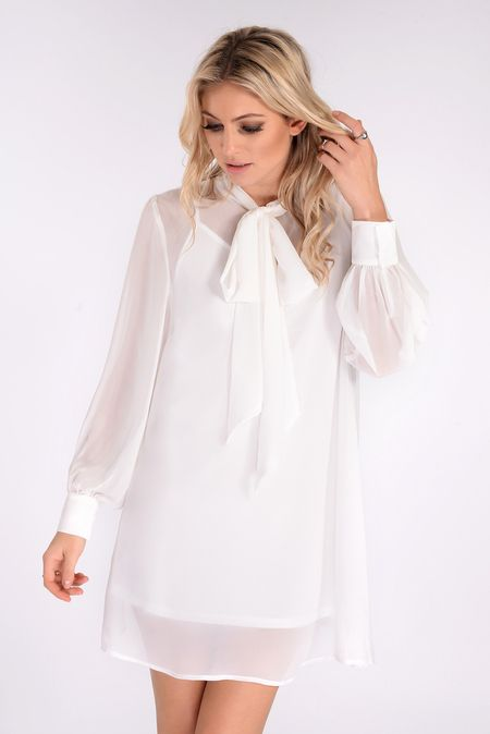 Beau White Tie Neck Chiffon Dress - In The Style