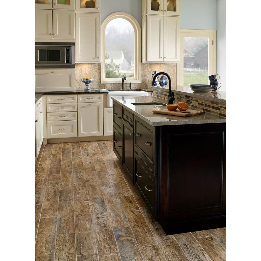 ms international redwood natural 6 in. x 24 in. glazed porcelain