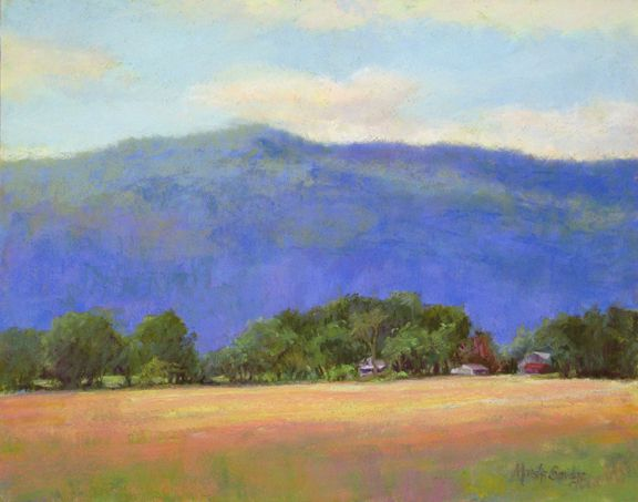 """""""Mountain Blue"""" is an 11 x 14"""" pastel painting ($725.00) and can be purchased at Lindsey Steele Gallery in Rockmart, GA. The scene is from near Monteagle TN and we enjoyed painting plein air (on location) there. This painting is from one of the hundreds of photos I took while there! Blue Ridge mountains, you just have to love them! www.marshasavage.com"""